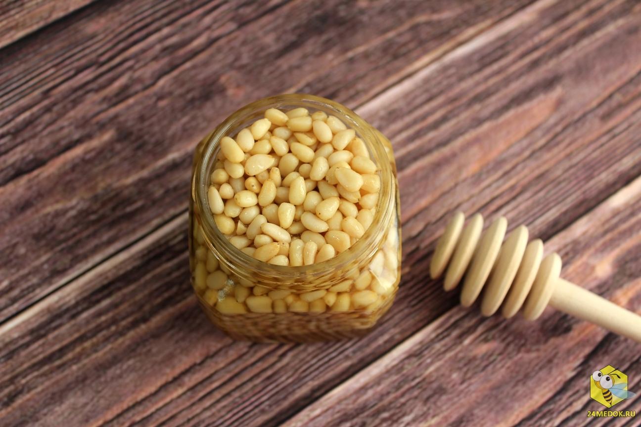 Мёд с кедровым орехом фото