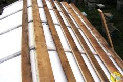 Крыша утеплена пенопластом. Обрешетка каждые 15см.