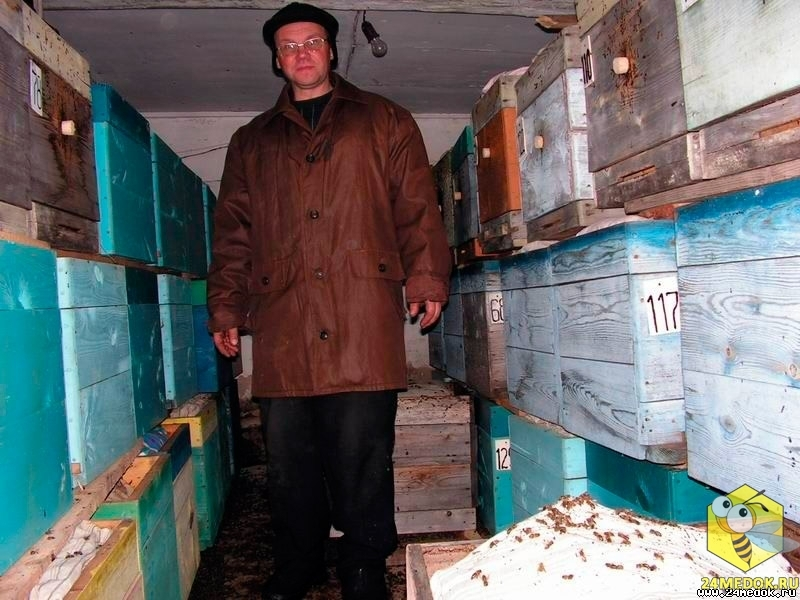 В омшанике пчеловод Старчевский Евгений Николаевич